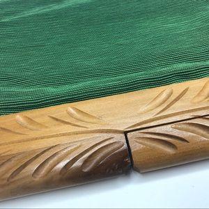 Vintage Bags - Vintage Fabric Clutch Carved Wooden Handle